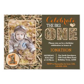 Duck Camo / Camouflage First Birthday Party Invitations