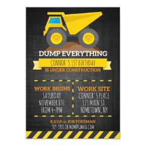 Dump Everything Construction Birthday Invitation
