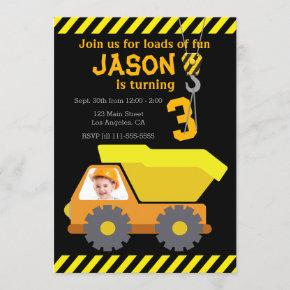 Dump Truck Birthday Party Invitation with Photo
