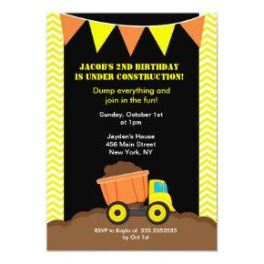 Dump Truck Construction Birthday Invitations