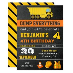Cool birthday invitations candied clouds dump truck construction birthday party invitation filmwisefo