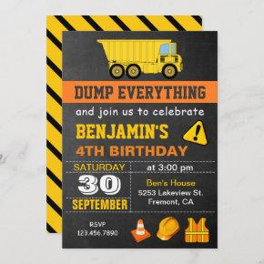 Dump Truck Construction Birthday Party Invitation