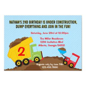 Dump Truck Construction Boy Birthday Party Invitations