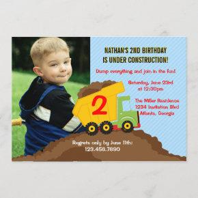 Dump Truck Construction Boy Birthday Party Photo Invitation