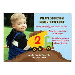 Dump Truck Construction Boy Birthday Party Photo Invitation