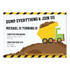 Dump Truck & Dirt Construction Zone Birthday Invitation