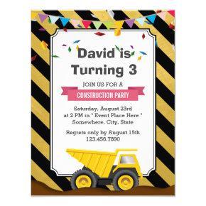 Dump Truck Under Construction Birthday Party Card