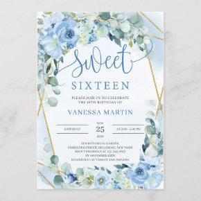 Dusty Blue Floral Gold Geometric Sweet Sixteen Invitation
