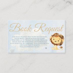 Dusty Blue Lion Book Request  for Baby Shower