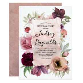 Dusty Pink and Burgundy Floral Birthday Party Invitation