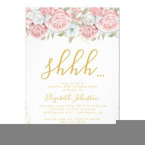 Dusty Pink Gold Floral Surprise Birthday Party Invitations