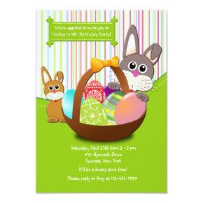 Easter Bunnies Birthday Party Invitations