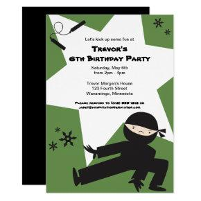 EDITABLE COLORS! Ninja Birthday Party Invitation