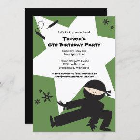 EDITABLE COLORS! Ninja Birthday Party Invitation
