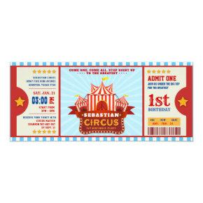 Editable Colour Circus Ticket First Birthday Invitation