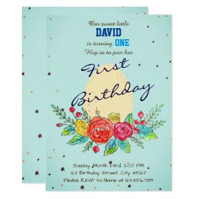 Egg Easter Spring Baby Boy's First Birthday Invitations