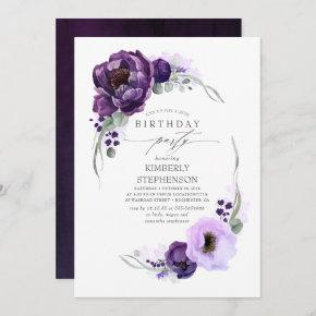 Eggplant Purple Floral Botanical Modern Birthday Invitation
