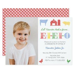 EIEIO Old MacDonald Farm Birthday Party for Boy Invitation