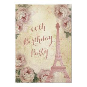 Eiffel Tower Cabbage Roses Any Age Birthday Party Invitation