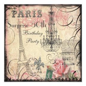 Eiffel Tower & Chandelier Surprise 50th Birthday Invitation