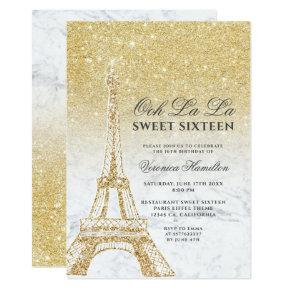 Eiffel tower chic gold glitter marble Sweet 16 Invitation