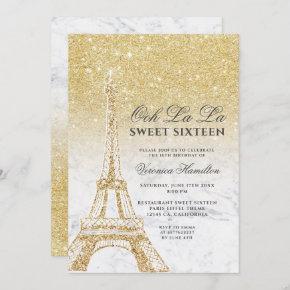 Eiffel tower chic gold glitter marble Sweet 16 Invitation