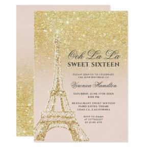 Eiffel tower chic gold glitter pink Sweet 16 Invitation