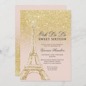 Eiffel tower chic gold glitter pink Sweet 16 Invitation