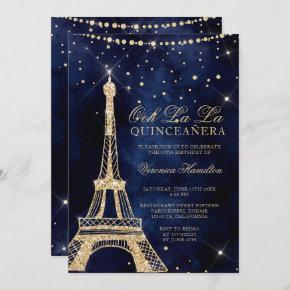 Eiffel tower chic gold glitter sparkle quinceanera invitation