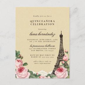 Eiffel Tower Floral Paris Themed Quinceañera Invitation Post