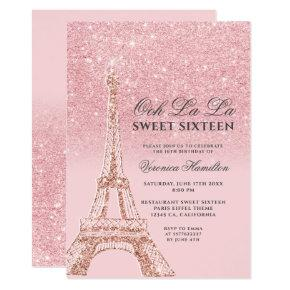 Eiffel tower pink glitter sparkles chic Sweet 16 Invitation