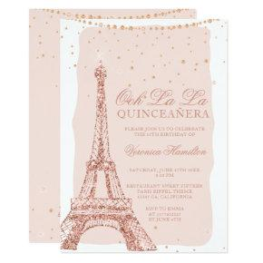 Eiffel tower rose gold glitter blush quinceanera invitation