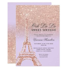 Eiffel tower rose gold glitter lavender Sweet 16 Invitation
