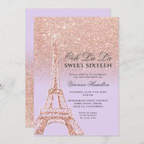 Eiffel tower rose gold glitter lavender Sweet 16 Invitation