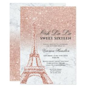 Eiffel tower rose gold glitter marble Sweet 16 Invitation