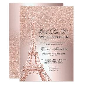Eiffel tower rose gold glitter metallic Sweet 16 Invitation