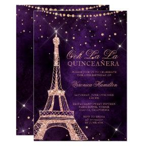 Eiffel tower rose gold glitter purple quinceanera invitation