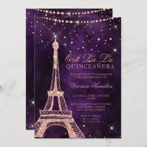Eiffel tower rose gold glitter purple quinceanera invitation