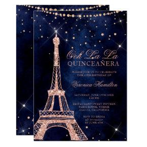 Eiffel tower rose gold glitter sparkle quinceanera invitation