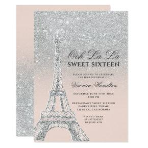 Eiffel tower silver glitter pink Sweet 16 Invitation