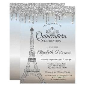 Eiffel Tower,Tiara,Drips Silver Quinceañera Invitation