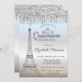 Eiffel Tower,Tiara,Drips Silver Quinceañera Invitation