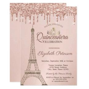 Eiffel Tower,Tiara, Rose Gold Drips Quinceañera Invitation
