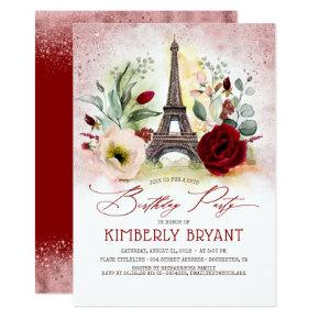 Eiffel Tower Vintage Paris Rose Gold Birthday Invitation