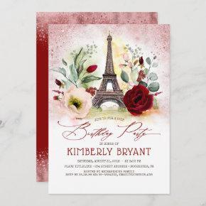 Eiffel Tower Vintage Paris Rose Gold Birthday Invitation