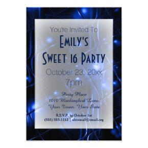 Electric Blue Black White Sweet 16 Birthday Invitations