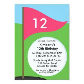 Miniature golf birthday invitations candied clouds electric pink lets bogie mini golf birthday party invitations filmwisefo