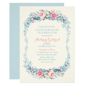 Elegant 100th Birthday Party Floral Watercolor Card