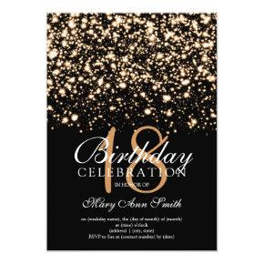Elegant 18th Birthday Party Gold Midnight Glam Invitation