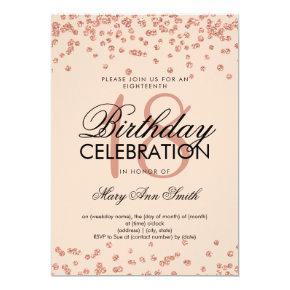 Elegant 18th Birthday Rose Gold Glitter Confetti Invitation